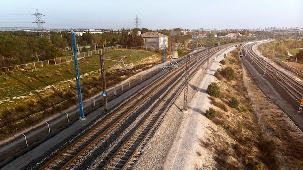 Transportconcept met spoorweg luchtfoto