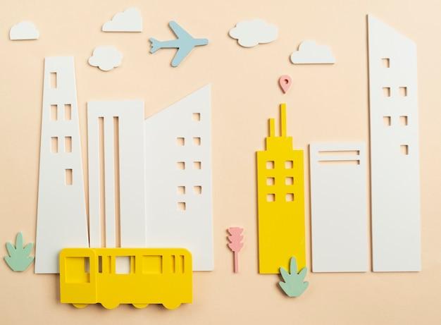 Transportconcept met vliegtuig en bus