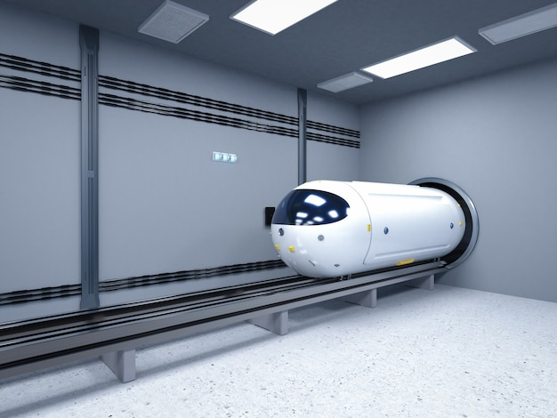 Transporttechnologie met 3d-rendering hogesnelheidsautomatiseringstrein in tunnel
