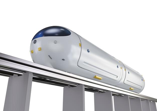 Transporttechnologie met 3d-rendering hogesnelheidsautomatiseringstrein op spoorweg