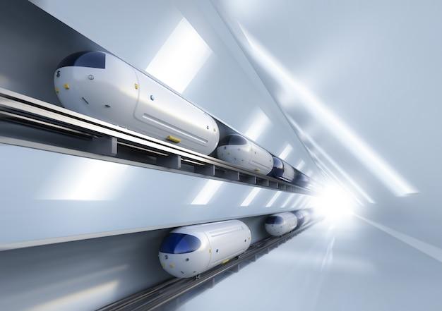 Transporttechnologie met 3d-rendering hogesnelheidsautomatiseringstreinen in tunnels