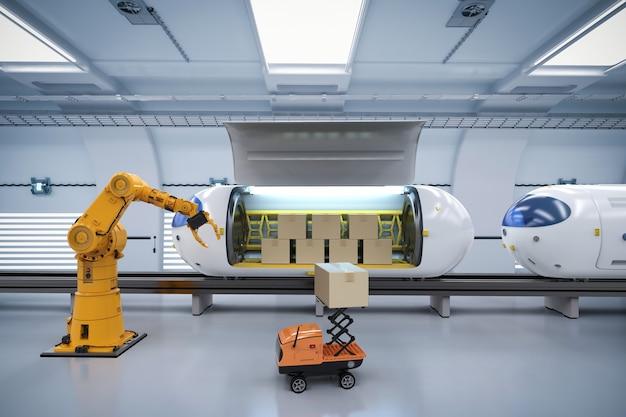 Transporttechnologie met 3d-renderingrobot draagt kartonnen dozen naar automatiseringstrein