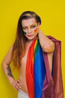 Transseksueel mannelijk portret, conceptuele ondersteuning van homo's, lesbiennes, transgenders en tegen homofobie