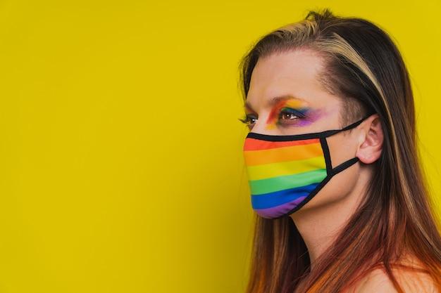 Transseksueel mannelijk portret conceptuele ondersteuning voor homoseksuele lesbiennes transgender en tegen homofobie