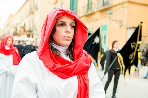 Trapani, sicilië, italië. processie op goede vrijdag