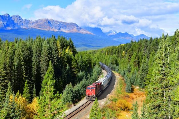 Trein die de beroemde kromming van morant overgaat in bow valley in het nationale park van banff, canada