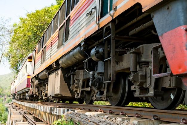 Trein die op de doodsspoor lopen in kanchanaburi, thailand