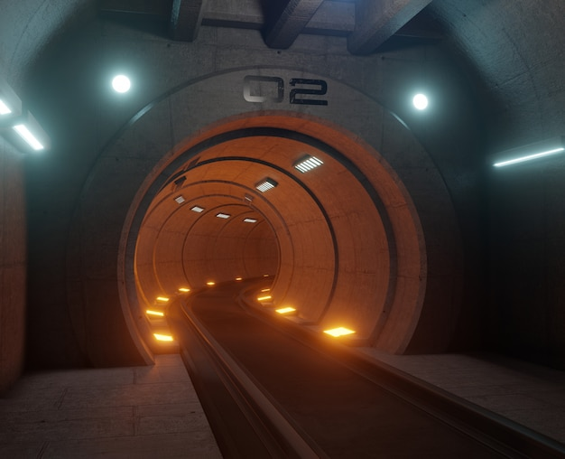 Treintunnel fictie in interieur rendering sci-fi, oranje tunnel licht, 3d-rendering