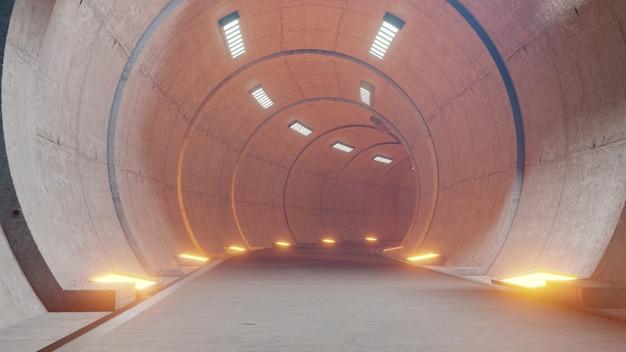 Treintunnel-fictie in interieur rendering sci-fi, oranje tunnellicht.