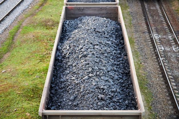 Treinwagons beladen met kolen. goederentrein die kolen, hout, brandstof vervoert