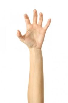 Trekken, grijpen, reiken of krabben. vrouwenhand gesturing geïsoleerd op wit