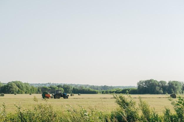 Trekker ploegt de vloer. hooibergen na het werken met een tractor landbouw, balenpersen, balenpersen, hooi oogsten in het zomerveld.