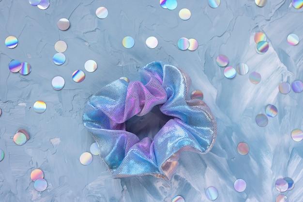 Trendy accessoires voor nieuwjaarsfeest kleurrijke stoffen scrunchie