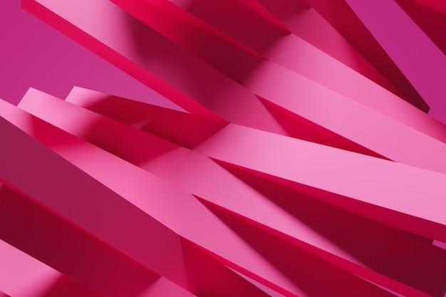 Trendy achtergrond in felle roze kleuren. 3d-afbeelding van een neon roze strepen. geometrisch naadloos patroon met vervagende lijnen, sporen, halftoonstrepen