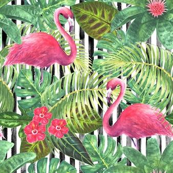Trendy achtergrond tropische exotische roze flamingo's groene bladeren takken en heldere bloemen op verticale gestreepte zwart-wit achtergrond aquarel hand getekende illustratie naadloze patroon