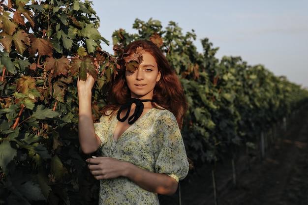 Trendy meisje met lang rood kapsel en zwart verband op nek in lichte modieuze groene kleding, kijkend naar de voorkant op wijngaarden vineyard