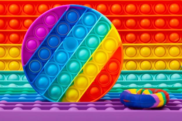 Trendy pop it fidget-speelgoed close-up populair siliconen kleurrijk anti-stress pop-it-speelgoed voor kinderen!