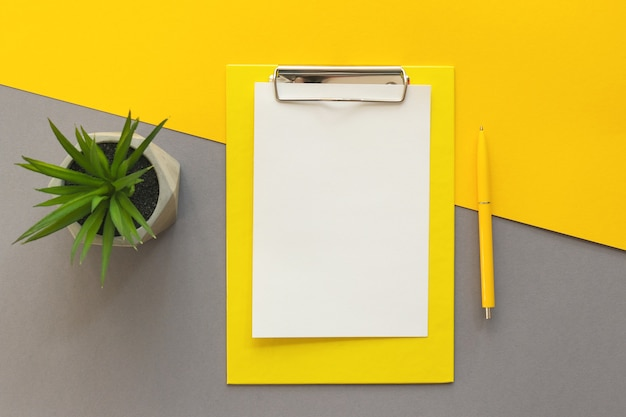 Trendy werkplek met klembordpen-smartphone en vetplant op geel en grijs bureau