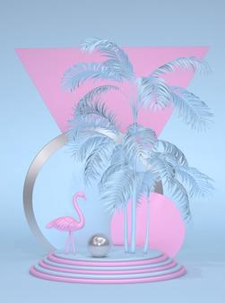 Trendy zomer tropische pastel 3d-compositie abstracte stijl roze flamingo cirkelframe blauwe verticale achtergrond