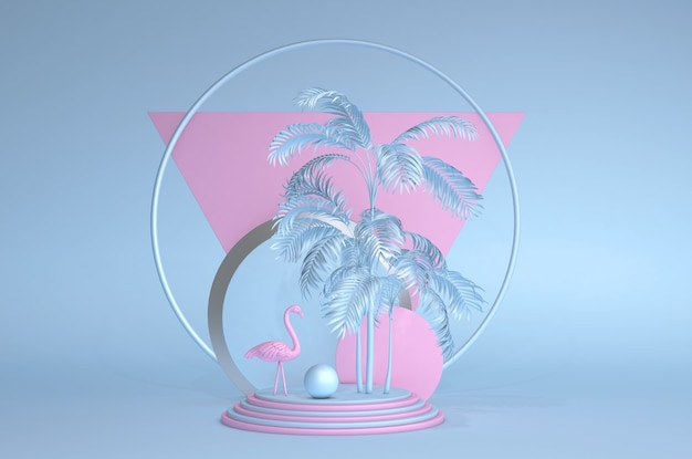 Trendy zomer tropische pastel 3d-compositie abstracte stijl roze flamingo exotische hawaiiaanse zomer cirkelframe blauwe achtergrond