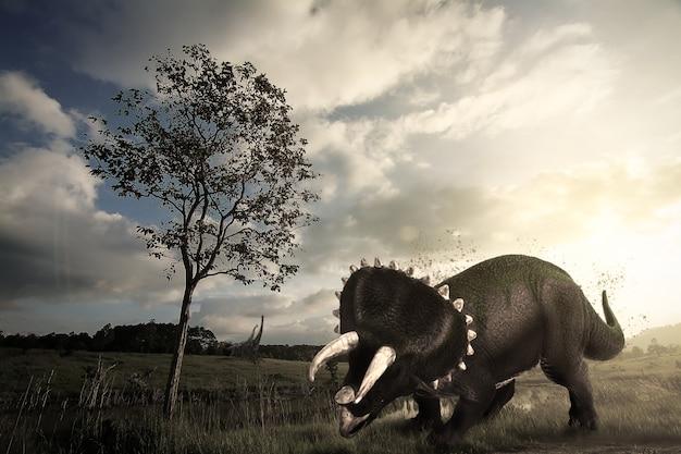 Triceratops-dinosaurus die in het late jura leeft