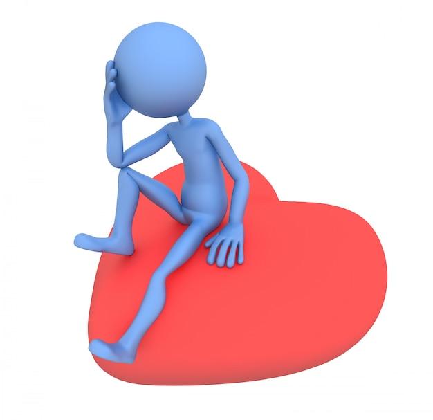 Triest minnaar zittend op rood hart. 3d-afbeelding
