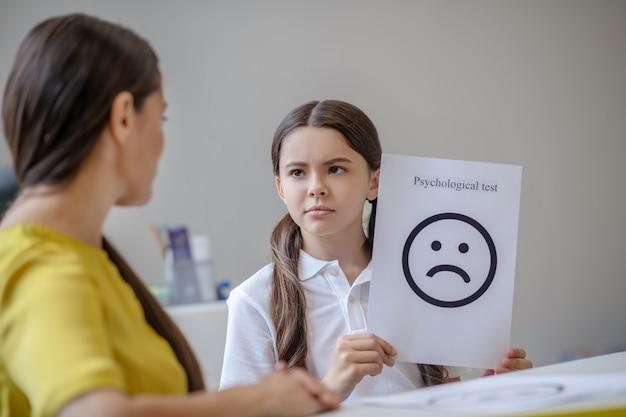 Triest schoolgaande meisje met foto met geschilderde trieste emotie en vrouw psycholoog tegenover
