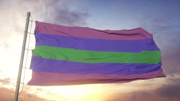 Trigender trots vlag zwaaien in de wind, lucht en zon achtergrond. 3d-rendering