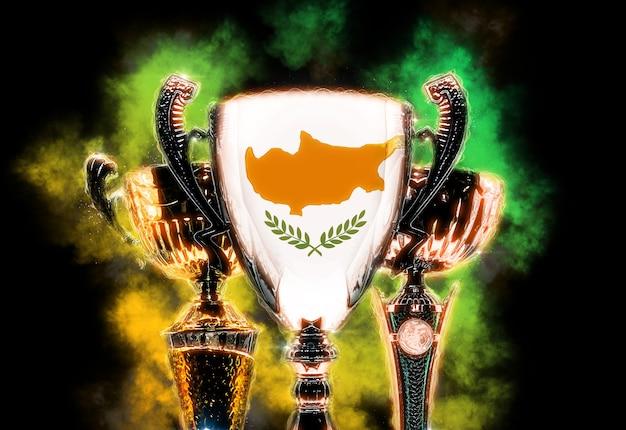 Trofee beker getextureerd met vlag van cyprus. digitale afbeelding.