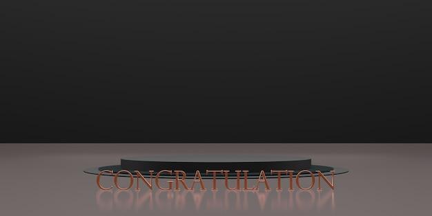 Trofee en overwinning podium achtergrond gefeliciteerd 3d illustratie