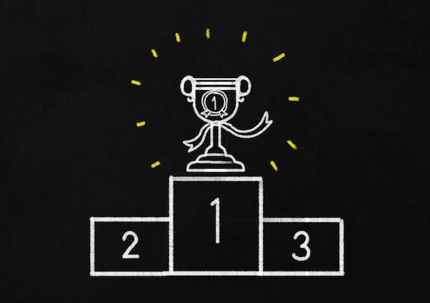 Trofee. getekend met krijt op blackboard