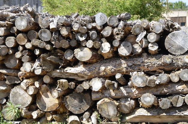 Troncos de madera apilados para chimenea
