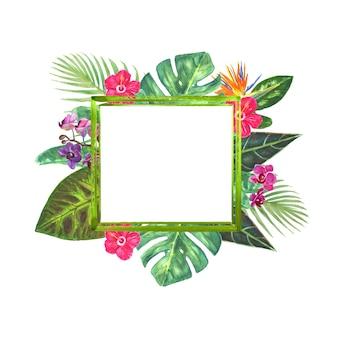 Tropisch grenskader met exotisch boeket met heldere tropische bloemen
