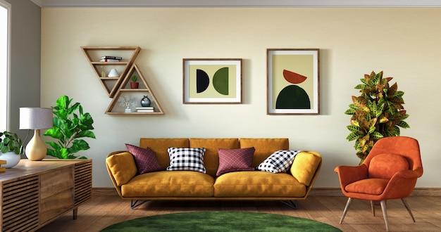 Tropisch interieur van woonkamer