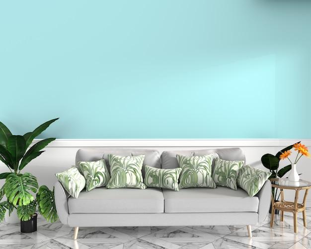Tropisch ontwerp, fauteuil, plant, kast op granieten vloer en munt achtergrond