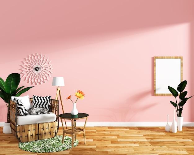 Tropisch ontwerp, leunstoel, installatie, kabinet op houten vloer en roze background.3 d-het teruggeven
