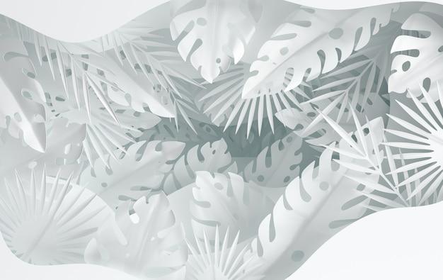 Tropisch papier palmbladeren frame