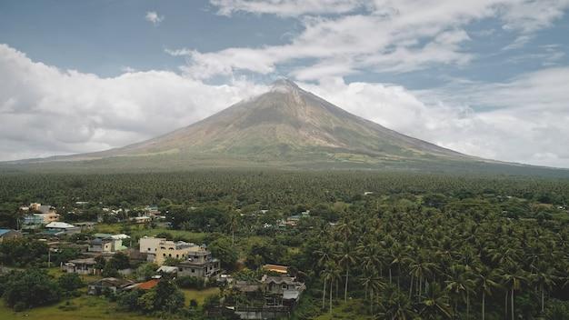 Tropisch platteland met palmbomen vanuit de lucht