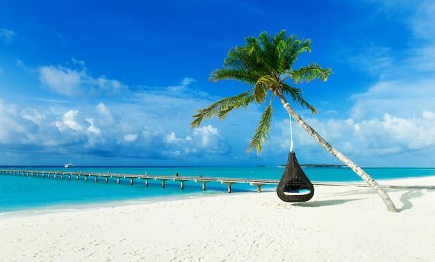 Tropisch strand in de maldiven met weinig palmbomen en blauwe lagune