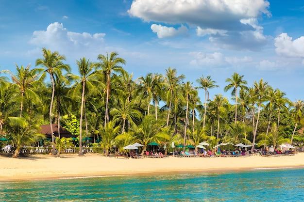 Tropisch strand met palmbomen op het eiland koh samui, thailand