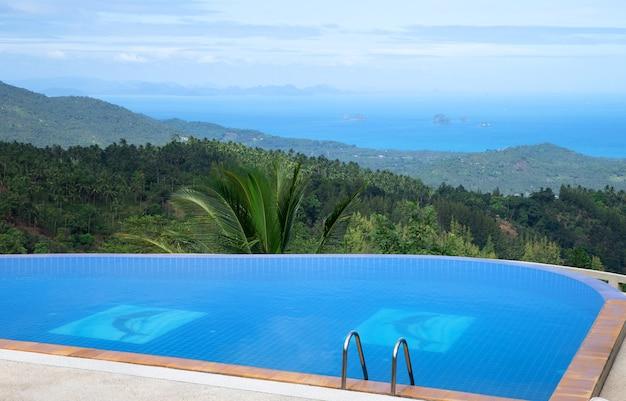 Tropisch zwembad met kokospalm