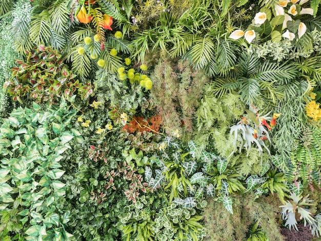 Tropische achtergrond met tropische plant in verticale tuin