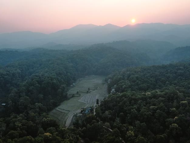 Tropische bergen en avond zonsondergangen in het bos