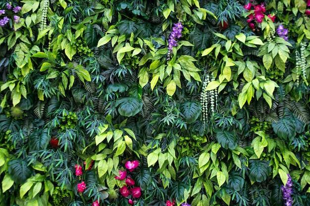 Tropische bladeren en bloemenachtergrond. aardachtergrond van verticale tuin met tropisch groen blad