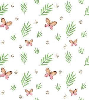 Tropische bladeren naadloze patroon aquarel, zomer herhalend patroon, vlinders aquarel