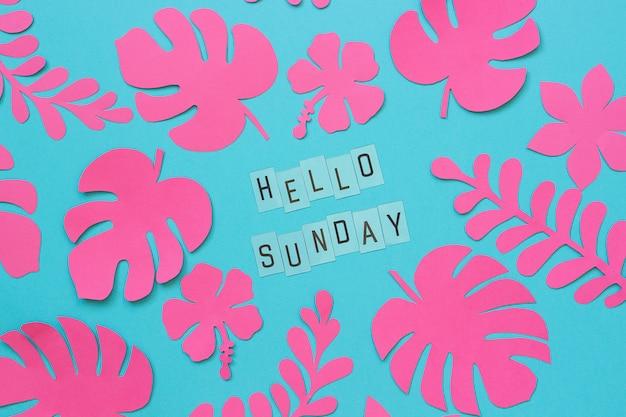 Tropische bladeren van papier en tekst hallo zondag. plat leggen, top-down compositie, creatieve papierkunst