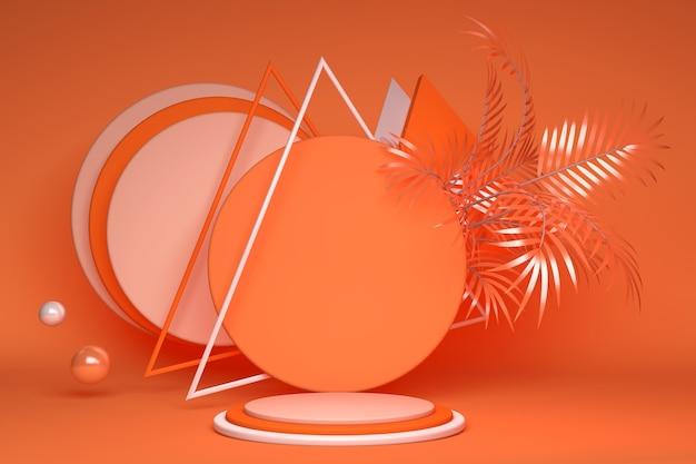 Tropische exotische oranje palm, rond podiumplatform met creatief driehoekskader voor productpresentatie. zomer heldere stijl. exotische kleuren, zomer achtergrond.