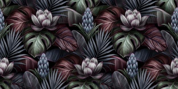 Tropische handgetekende naadloze patroon met witte lotusbloem, protea, monstera, bananenbladeren, palm, colocasia