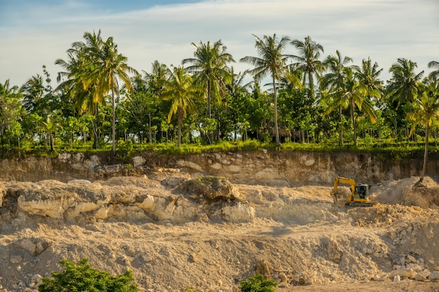 Tropische jungle bij zonnig weer. steengroeve voor de winning van steen. palmbomen en tractor