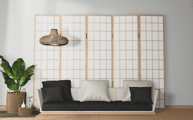 Tropische kamer interieur met sofa en planten decoratie op houten vloer